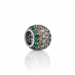 Tedora - Charm in Argento 925 Pavé Verde, Oro & Bianco -