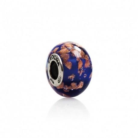 Tedora - Charm  in Argento e Vvetro di Murano Occhi D'Oro In Blu - MG228