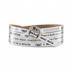 We Positive - Bracciale  My Song Pino Daniele – O Scarrafone -Pelle Argento – MY444
