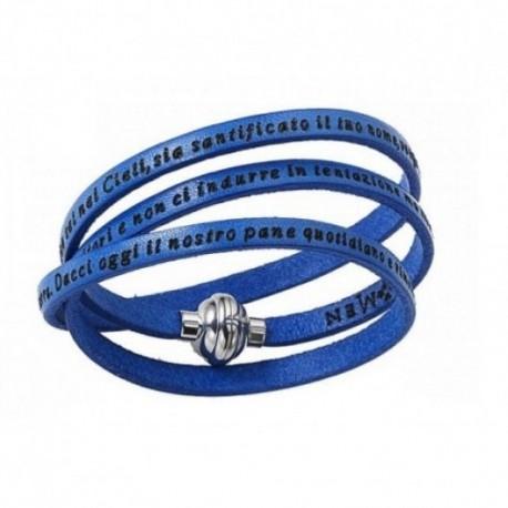 Amen - Bracciale Pelle Blu Unisex Padre Nostro Italiano - MY-PNIT06-60