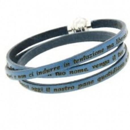 Amen - Bracciale Pelle Padre Nostro  Azzurro - MY-PNIT22-57