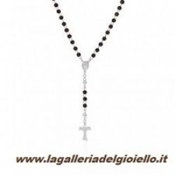 Amen - Collana Rosario Tau Unisex In Arg 925 E LEGNO - ctablm4