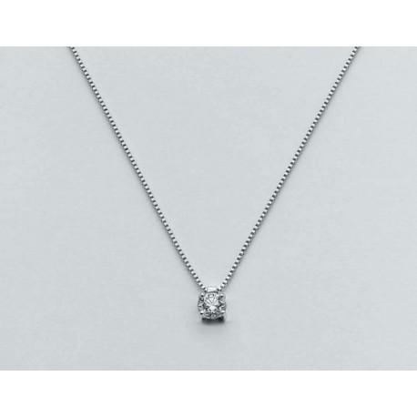 Miluna - Collana in Oro Bianco 9kt Diamanti  - CLD1287-D9sx