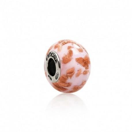 Tedora - Charm  in Argento e Vetro di Murano Tocchi D'Oro In Rosa -  MG233