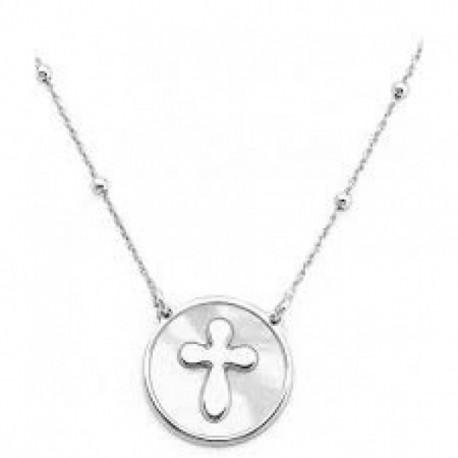 Amen - Collana Croce Donna In Argento 925 E Madreperla - CLMPBB