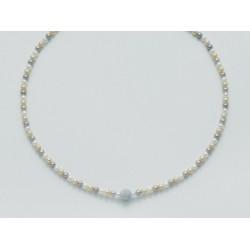 Miluna  - Collana In Oro Bianco 18kt Con Perle Multicolore e Sfera Diamantata - PCL3096