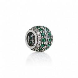 Tedora - Charm  in Argento 925 Pavé Bianco & Verde - IP043