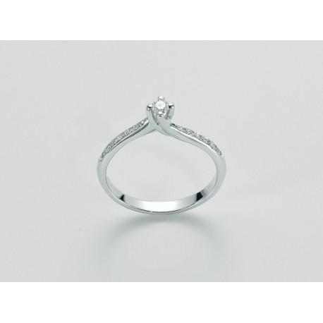 Miluna  -Anello Solitario con Diamante 0.09ct in Oro Bianco 18kt   -  Lid2847-009s