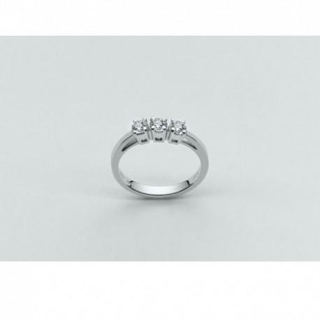 Miluna - Anello Oro Bianco Diamante Trilogy - LID1416-D60