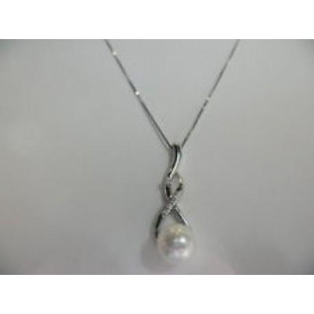 Miluna - Collana Oro Bianco 18Kt Perla - PCL1898