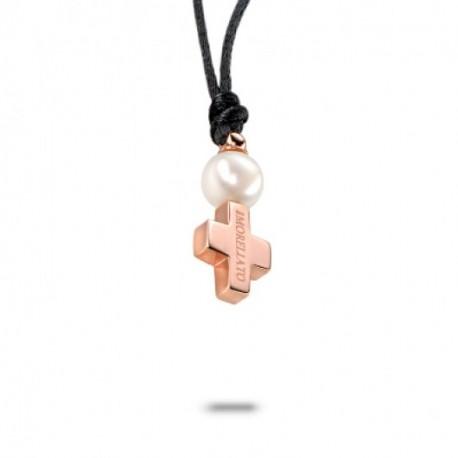 Morellato - Pendente Donna In Acciaio Oro Rosa CroceE Perla -  0P11
