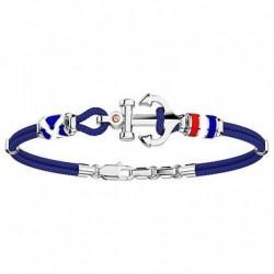 Zancan - Bracciale Arg 925 Uomo Regata Ancora Bandiere E Cordino Blu - EXB621-BL