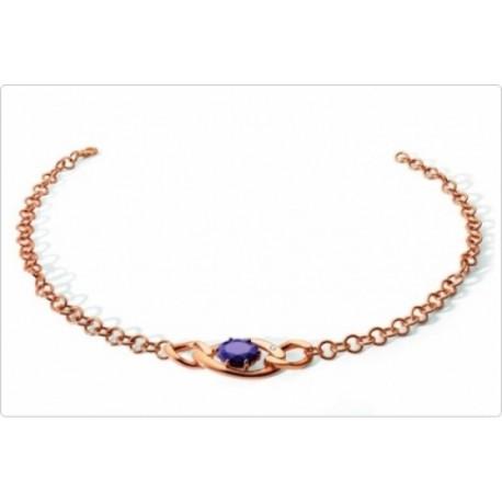 Morellato - Collana Donna In Acciaio Color Oro  Rosa Con Zircone Viola E Diamante -  2L01