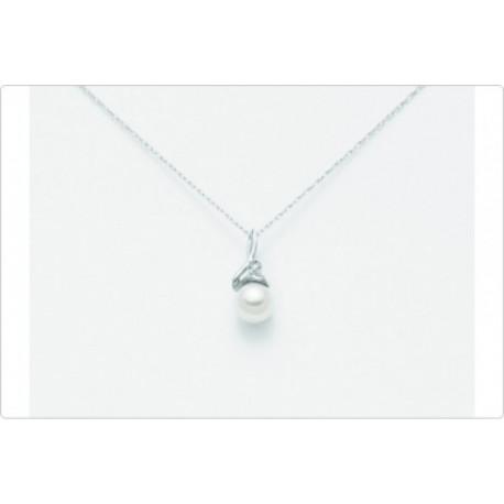 Miluna - Collana Con Perla E Diamante  - PCL1869