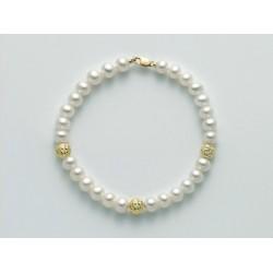 Miluna - Bracciale Perle Bianche E Oro Giallo 18 Kt - PBR2305G