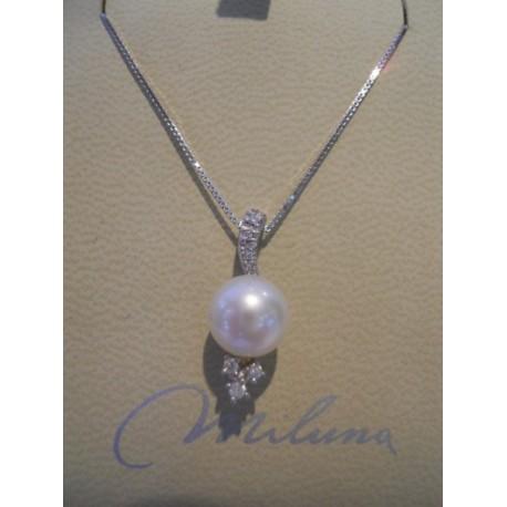 Miluna - Girocollo in Oro Bianco Diamanti e Perla - PCL1625