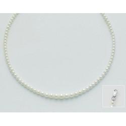 Miluna  - Collana in oro bianco 18kt con Perle Portafortuna a Scalare - PCL2212