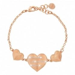 Bracciale Stroili cuori in ottone rosato e glitter Halley  - 1654602