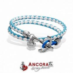 Go Nice - AncoraTi Bracciale con Ancora  Interlace Donna Bianco e Azzurro - hd208