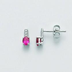 Miluna - Orecchini Oro  Diamanti e  Rubino Ovale - ERD2109X