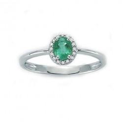 Miluna -  Anello  Donna  Oro Bianco Smeraldo e Diamanti- LID3272