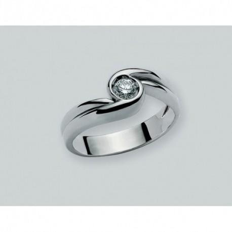 Miluna - Anello Solitario Donna Oro Bianco Con Diamante - LID1343-D10