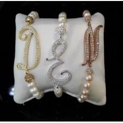 Le Nostre Creazioni - Bracciale Elastico di Perle Con Lettera in Argento 925% e Zirconi - BEPL