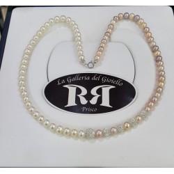 Le Nostre Creazioni - Collana Di Perle Avorio  Rosè e Oro Con Sfere  di Resina e Zirconi - CPAR5P
