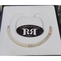 Le Nostre Creazioni - Bracciale Di Perle Avorio E Rosè In Oro Bianco Con Sfere In Resina Con Zirconi - BPAR5P