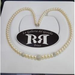 Le Nostre Creazioni -Collana Di Perle Avorio e Oro Con Sfere di Resina e Zirconi - CPA3P