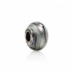 Tedora  - Charm in Argento e Vetro di Murano Grigio Urban -  MG204