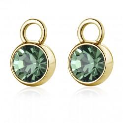 S'agapò - Pendente per orecchino componibile Con Cristallo Verde e Pvd Oro HAPPY EARS - SHE021