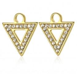 S'agapò - Pendente Per Orecchino Componibile ,  triangolo e Cristalli Bianchi HAPPY EARS - SHE020