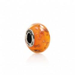 Tedora  - Charm in Argento e Vetro di Murano Tocchi D'Oro in Arancio - MG230
