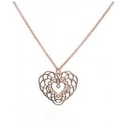 Stroili - Collana a Cuore in Ottone Rosè e Glitter Secret Lace - 1663632