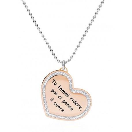 """Stroili - Collana Con Ciondolo in Acciaio Rosè e Strass """"Tu fammi ridere poi ci pensa il cuore"""" Lady Message - 1663133"""