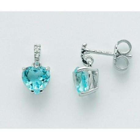 Miluna - Orecchini Oro Bianco 9 Kt,  Diamanti e Topazio Gemma del Cielo - ERD2407X