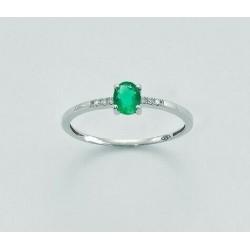 Miluna - Anello  Oro Bianco 9KT  Diamanti e Smeraldo - LID3049VX