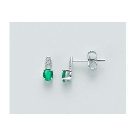 Miluna -  Orecchini Oro Bianco 9KT Diamanti e Smeraldo - ERD2110V2X