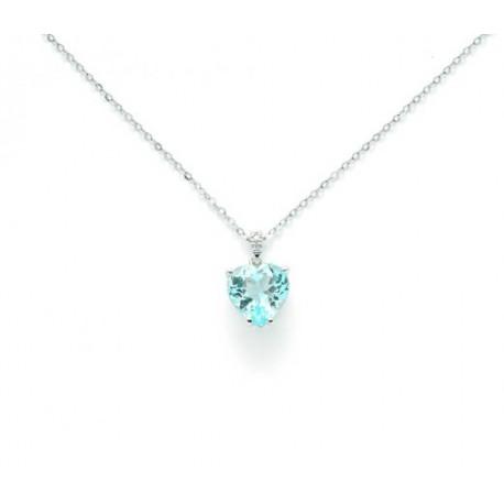 Miluna - Collana Oro Bianco con Topazio Azzurro e Diamanti - CLD4109X