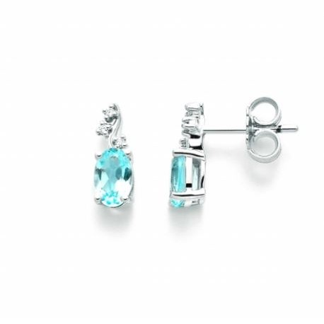 Miluna  - Orecchini in Oro Bianco Topazio e Diamanti - ERD2306X