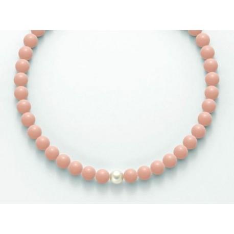 Miluna - Collana in Argento 925  Corallo Rosa e Perla - PCL4820