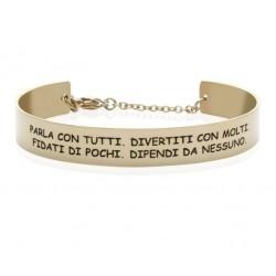 Stroili - Bracciale Rigido in Acciaio Dorato con frase incisa Lady Message - 1663109