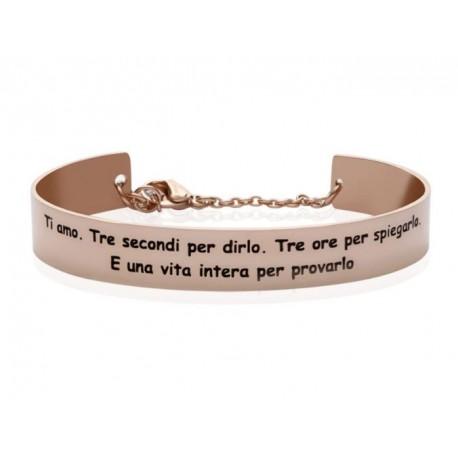 Stroili - Bracciale Rigido in Acciaio Rosè con frase incisa Lady Message - 1663099