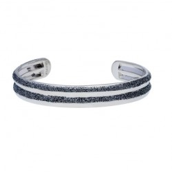 Stroili - Bracciale Bangle i in Ottone Rodiato e Glitter Antracite Soft Dream - 1665999