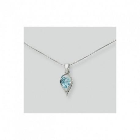 Miluna - Collana Oro Bianco 18kt Topazio Diamanti - CLD250