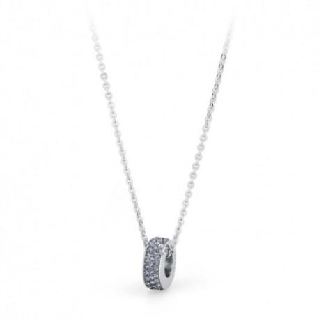 S'agapò - Collana Crystal Ring Acciaio e Cristalli Grigio - SCR03