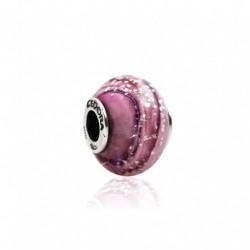 Tedora  - Charm in Argento e Vetro di Murano Viola/Rosa -  MG257