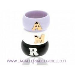 DaLù- Anello  in Ceramica Personalizzabile Con Iniziale in Oro18kt Con Diamante AN307