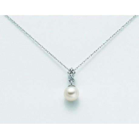 Miluna  - Catenina Girocollo In Oro Bianco 18kt Con Perla e Diamanti  - PCL1841